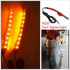 2x9LED Motorcycle Integrated Tail Brake Stop Turn Signal Light Lamp Strip Yellow