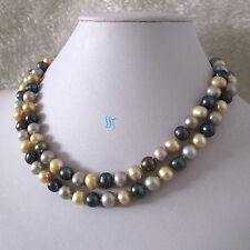 """34"""" 7-9mm Gray Champagne Peacock Freshwater Pearl Necklace"""