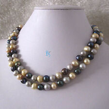 "34"" 7-9mm Gray Champagne Peacock Freshwater Pearl Necklace"