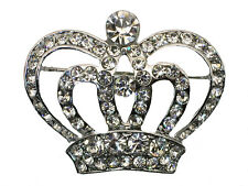 Crown Pin Brooch Clear Crystal Vintage Style Royal Princess Queen Red Hat