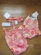 Gymboree Baby Girl 0-3 N Romper Swimsuit & Head Piece Lot Of 3 Pieces NWT