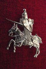 Templar Knight on Stead SCA Medieval Pewter Brooch