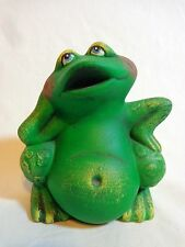 "Green Frog Figurine 4"" Bloated Belly Blushing Cheeks Hand Painted Ceramic"