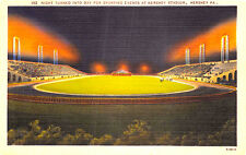 HERSHEY PA NIGHT TURNED TO DAY FOR SPORTING EVENTS AT STADIUM POSTCARD c1940s