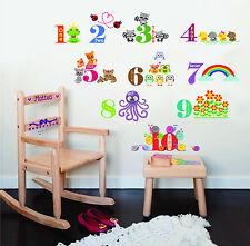 KID'S Adesivo Parete Arte Decorazione Stanza Animali numerazione II Bambini