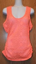 Junior Womens Coral Eye Candy Semi Sheer Tank Top Shirt Size Medium NWT NEW