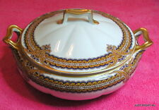 "Haviland H&Co (Unknown Gold & Cobalt) 8"" COVERED SERVING BOWL Stunning"