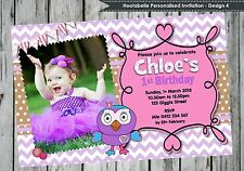GIGGLE AND HOOT PERSONALISED INVITATION HOOTABELLE INVITES CARDS BIRTHDAY PARTY