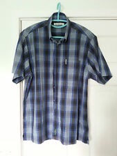 MENS BEN SHERMAN SHORT SLEEVE CHECKED CASUAL SHIRT SIZE- L
