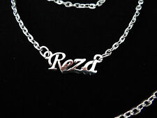 Reza Silver Tone Pendent Necklace English Calligraphy Stainless Steel Name