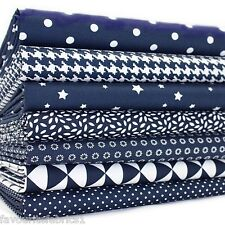 7 X FQ BUNDLE - NAVY MONO GEOMETRICS 100% COTTON FABRIC stars dots dogtooth