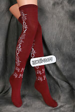 So-23 rot red burgund Schleife Gothic Lolita Socken Overknees Strümpfe Stockings