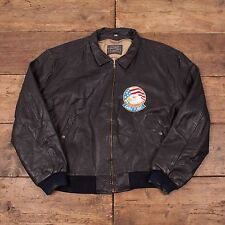 "Da Uomo Levis Vintage Leather USA Eagle Flight Bomber Nero L 46"" r3819"