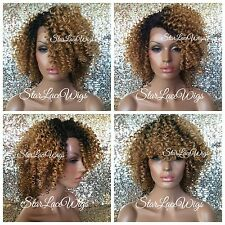 Short Curly Lace Front Wig Ombre Mixed Blonde Highlights Dark Roots Heat Safe Ok