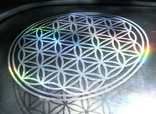 Flower of Life Rainbow Silver Mandala Sacred Geometry Sticker