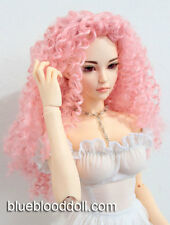 "1/3 bjd 9-10"" doll head pink curly long wig Soom Feeple Loongsoul Pullip"