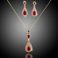 Red Zircon Pendant Necklace Earring Crystal Gold Plated Jewelry Sets