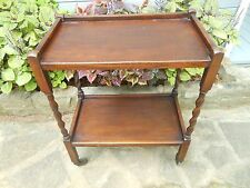 2 Tier Oak Barley Twist Tea Cart Tea Trolley Rolling Bar Mini-Server F/England