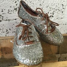NEW ZARA GIRLS SILVER GLITTER SPARKLE LACE UP PARTY SHOES EU 32 UK 13 ZS03