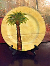 "1 Tabletops Unlimited Dinner Plate Bellagio Palm Tree Hand Painted 10 7/8"" Chip1"