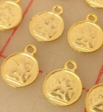 24 gold color metal pendants angel charms putto cherub 9.5 x 12mm findings