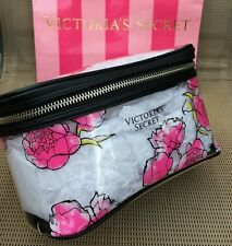 New with tag Victoria's Secret XO Clear Floral Cosmetic Bag Makeup Bag Case Rose