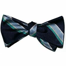 """NEW! Hand Made. 100% Silk. NAVY SLATE TEAL Stripes SELF TIE Bow Tie. 2.5"""" Wide"""