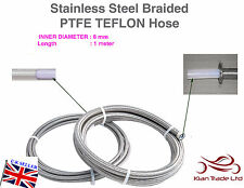 8MM x 1METER STAINLESS STEEL BRAIDED PTFE TEFLON FUEL HOSE LINE OIL PETROL HOSE