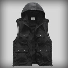 Mens Multiple pockets safari waistcoat hunting fishing Hooded vest photo jacket
