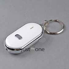LED Red Locator Lost Keys Finder Keychain Whistle Sound Control Reminder White