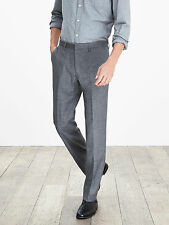 NWT Banana Republic Modern Slim Gray Flannel Wool Dress Pant Color Gray Sz 36x34