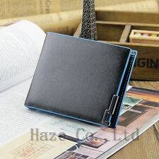 Mens Leather Wallet Black Card Clutch Purse Pockets Cente Bifold Money Clip FR*
