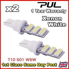 2 x Xenon White 9 SMD LED 501 T10 W5W Side / Number Plate / Interior Light
