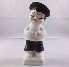 Vintage Black & White Porcelain Asian Oriental Chinese Figurine - Made In Japan