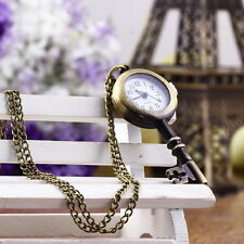 Retro Vintage Pocket Key-shaped Watch Necklace Wall Chart Pendant CF