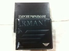 New Armani Black Leather Mens Wallet Trifold