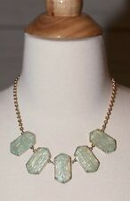"""NEW MINT GREEN GEO PATTERN BIB NECKLACE AND EARRINGS SET GOLD 18"""" ADJUSTABLE NWT"""