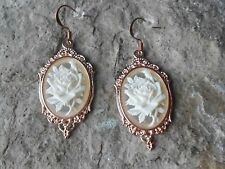 WHITE ROSE ON FROSTED CAMEO ROSE GOLD TONE COPPER EARRINGS - UNIQUE - WEDDING