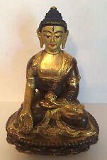 """Tibetan Buddah 24K Gold Gilt Bronze Shakyamuni Statue Marked  4"""""""