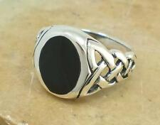 LARGE MENS .925 STERLING SILVER CELTIC ONYX RING sz 9  style# r1503
