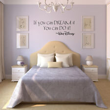 New If You Can Dream It Art Vinyl Quote Wall Sticker Mural Decals Living/Bed