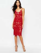SALE  FOR LOVE & LEMONS:(SIZE:=M) GIANNA HOT RED LACE MIDI DRESS NWT MSRP$260