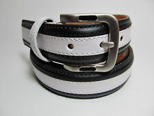 "Men Brass Buckle Black and White Leather Belt L 38 - 40"" #moda27B"
