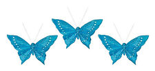 3 x Turquoise Clip on Butterflies Christmas | Wedding Butterfly Decoration Picks