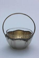 Kleine versilberte Henkelschale mit Kristallglas-Einsatz,Bonboniere, um 1900