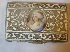 ANTIQUE 800 SILVER ENAMEL LADY ITALIAN COMPACT