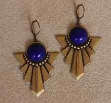 Art Deco Vintage Brass Swag Pendant Drop Earrings Glass Blue Gemstone