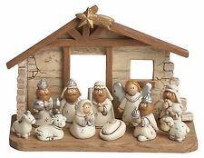 Miniature Kids Nativity Scene with Creche, Set of 12 by Transpac Imports, Inc.
