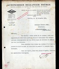 """NEUILLY-sur-SEINE (92) CONSTRUCTEUR d'AUTOMOBILES """"BELLANGER Freres"""" en 1919"""