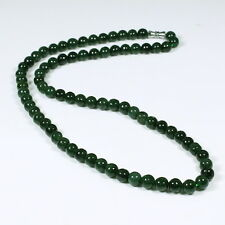 Round Beads 5mm Dark Green Necklace Real Natural Handmade Grade A Jadeite Jade